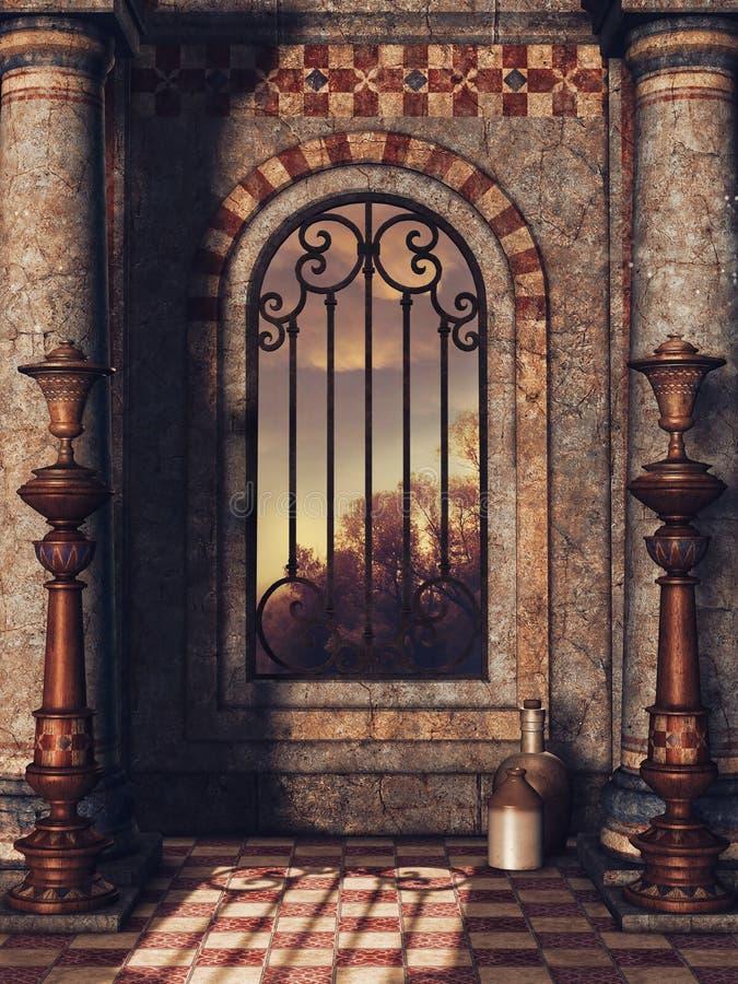 Janela do palácio com vasos ilustração royalty free