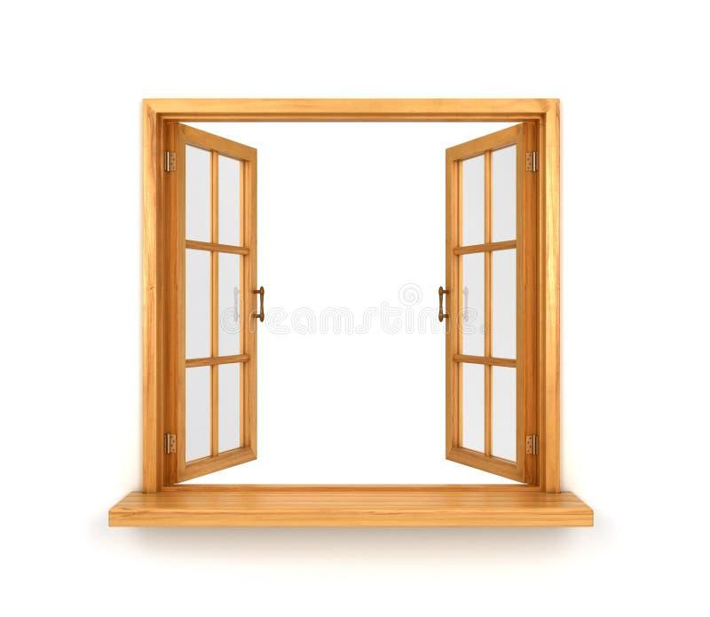 Janela dobro de madeira aberta isolada ilustração stock