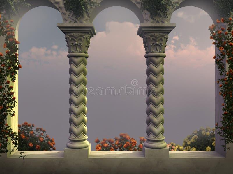 Janela enorme com rosas ilustração royalty free