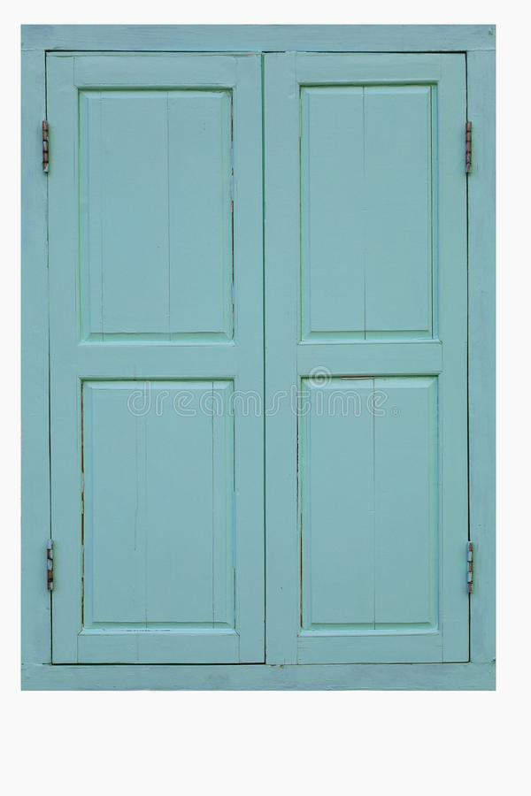 Janela gêmea de madeira azul velha isolada no fundo branco com trajeto de grampeamento fotografia de stock royalty free
