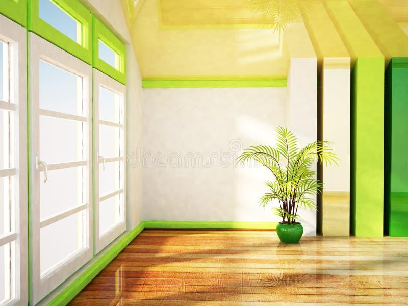 A janela grande e uma planta ilustração do vetor
