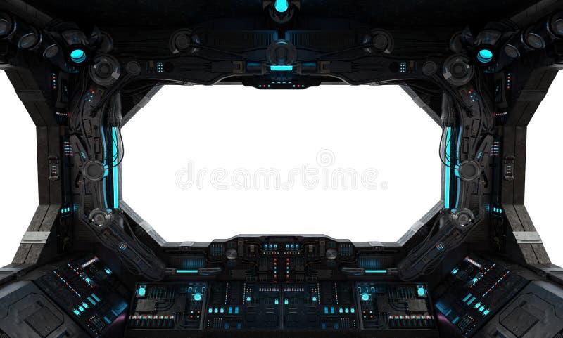 Janela interior do grunge da nave espacial isolada ilustração stock