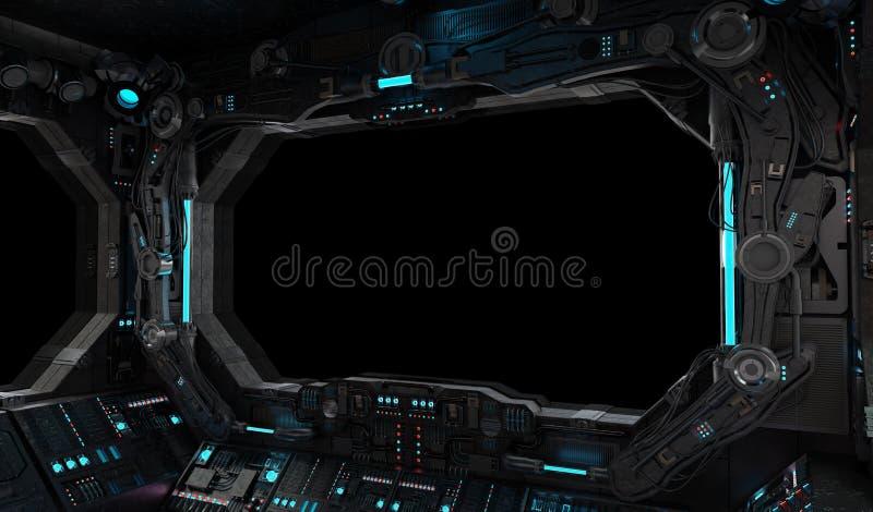 Janela interior do grunge da nave espacial isolada ilustração royalty free