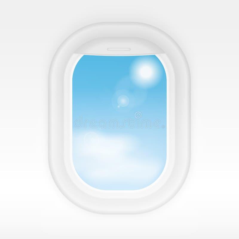 Janela interior realística dos aviões com o céu azul nebuloso fora As janelas do avião conceito do vetor viajam ou das turismos ilustração royalty free