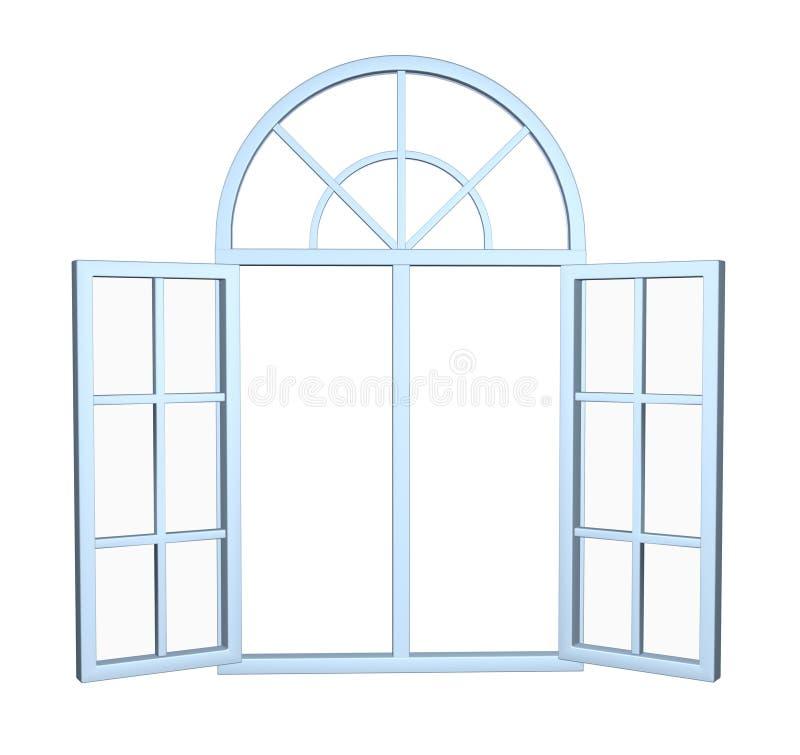 Janela moderna largamente aberta do arco imagem 3d isolada no branco ilustração do vetor