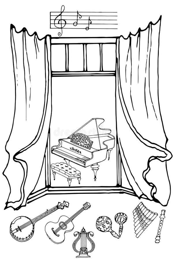 Janela music2 ilustração stock