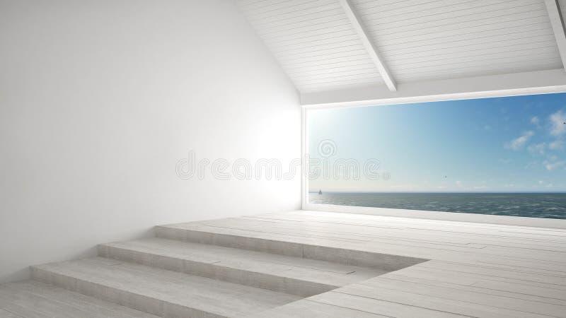 Janela panorâmico grande com fundo do oceano do mar, cena do verão, em ilustração royalty free