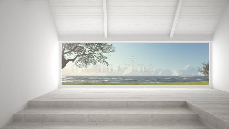 Janela panorâmico grande com jardim da grama, árvores de azeitonas e s áspero ilustração do vetor
