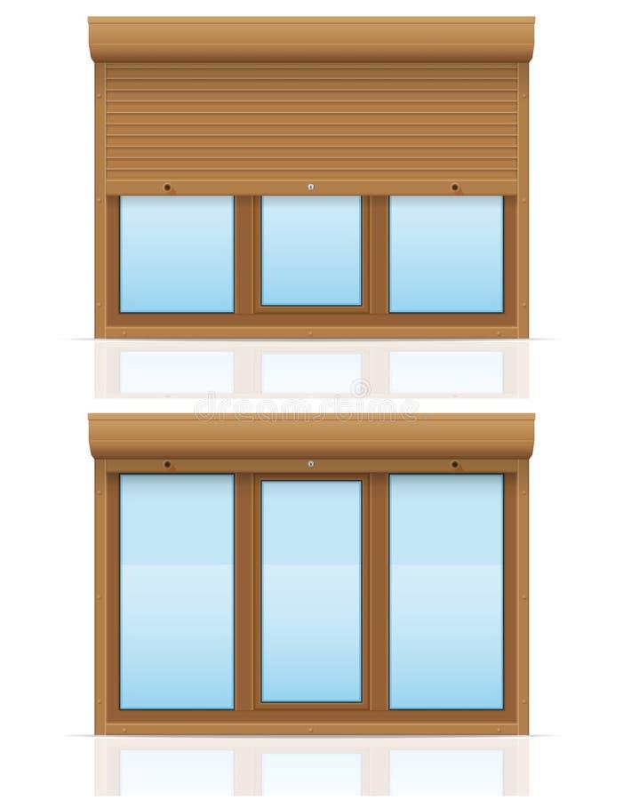 A janela plástica de Brown com obturadores de rolamento vector a ilustração ilustração stock