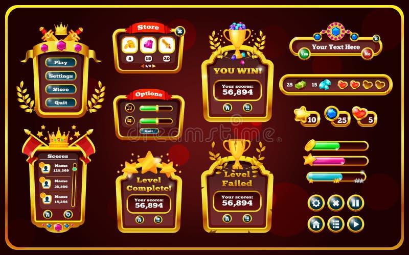 Janela pop-up com menus principais, painel do jogo com botões ilustração do vetor