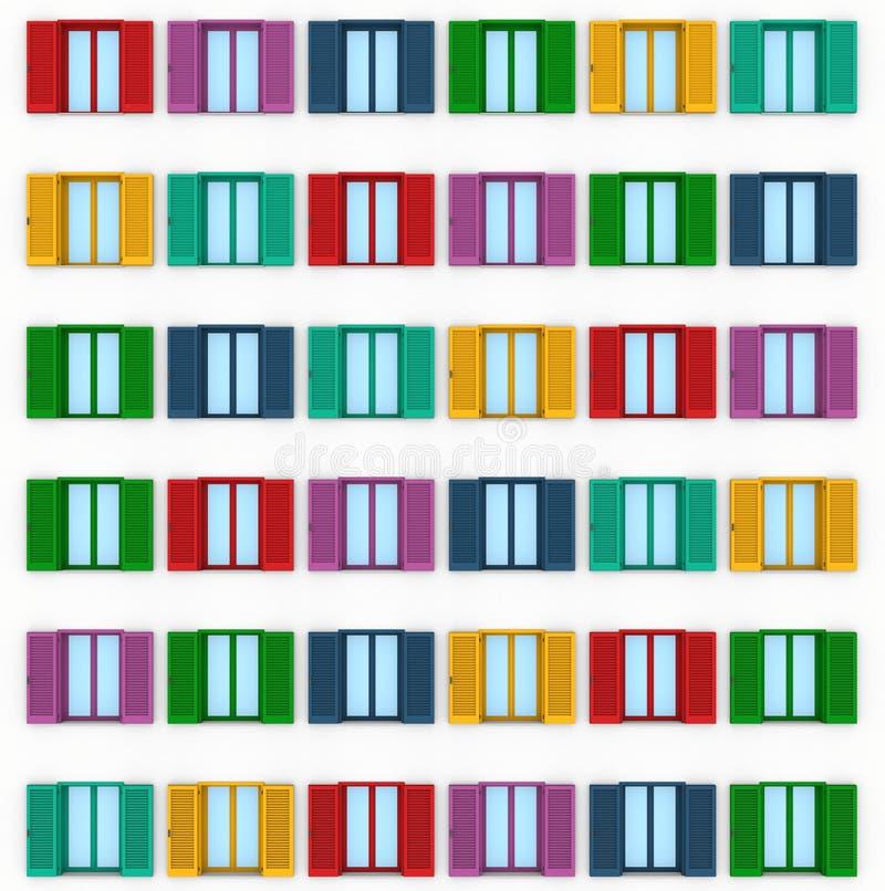 Janela quatro fechado com colorido venetian ilustração stock