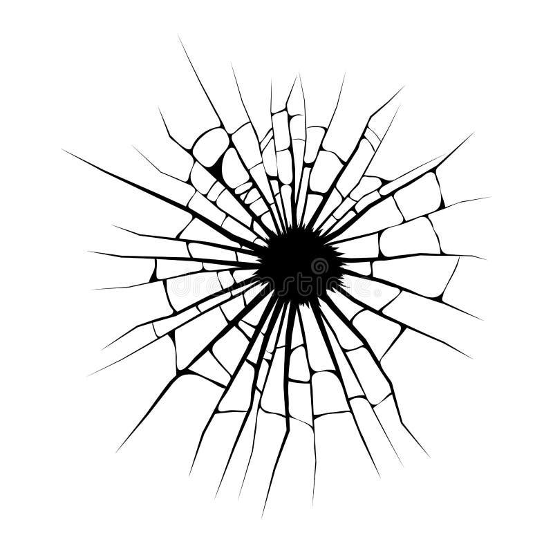 Janela quebrada, projeto do vetor do furo das quebras isolada no backg branco ilustração do vetor