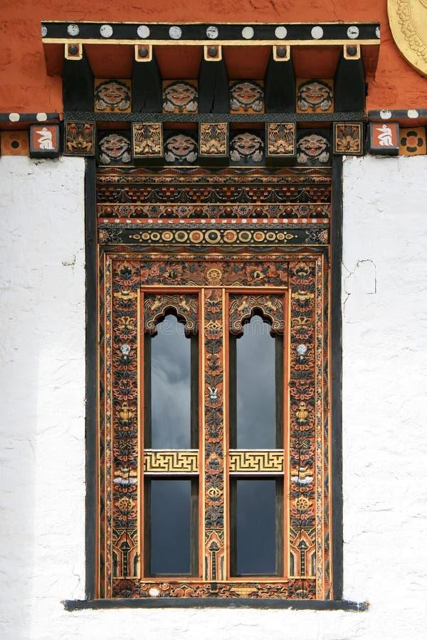 Janela - templo budista - Butão fotografia de stock royalty free