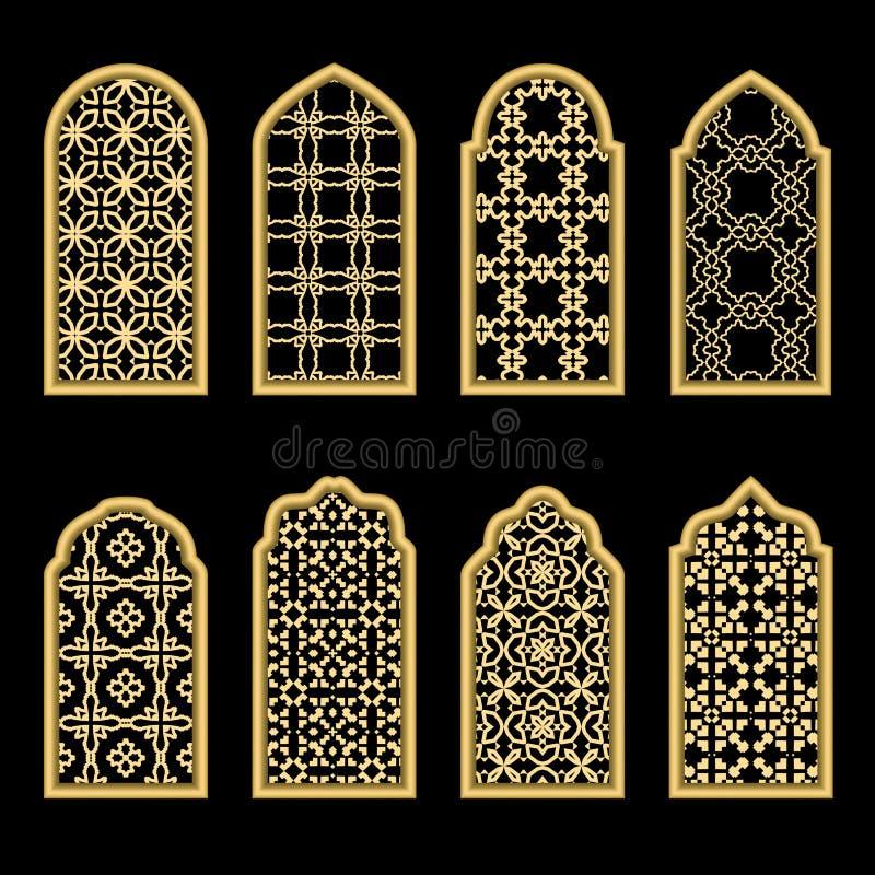 Janela tradicional do árabe do ouro ilustração do vetor