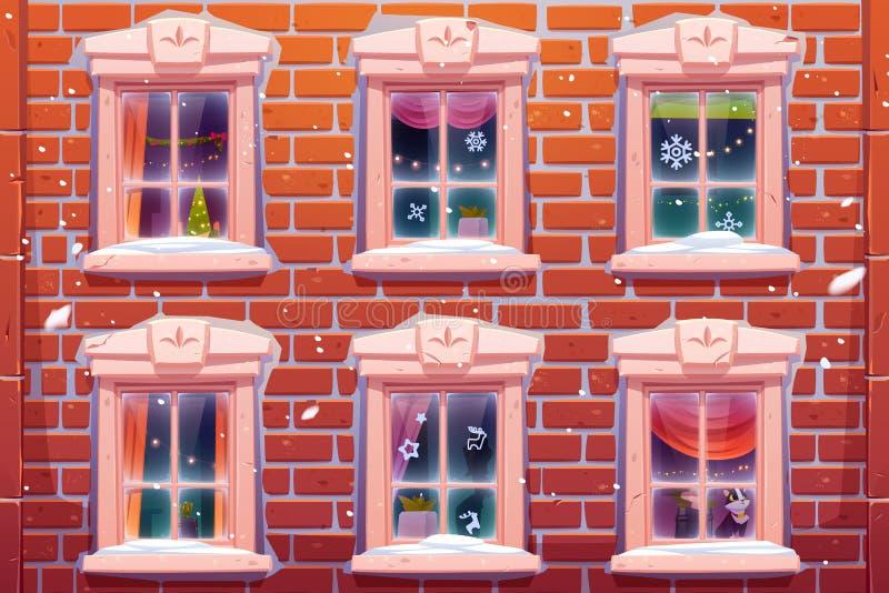 Janelas com decoração de Natal e Ano Novo ilustração royalty free