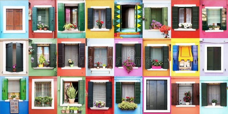 Janelas de Burano fotografia de stock