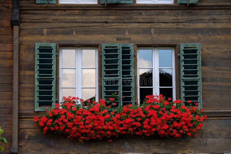Janelas de madeira da casa de Suíça típico foto de stock