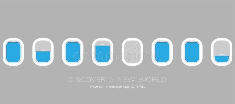 Janelas do avião para seu projeto Bandeira lisa do vetor da Web ilustração stock