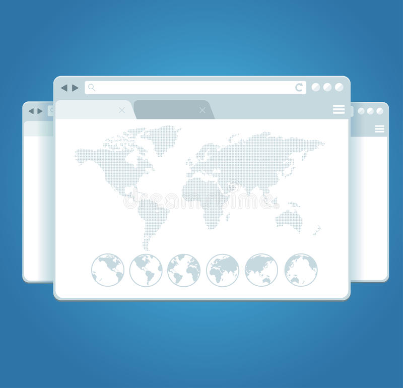 Janelas do browser e mapa do mundo Vetor ilustração stock