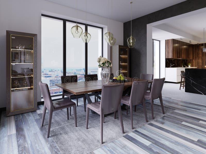 Janelas panorâmicos na sala de jantar luxuosa com tabela de madeira e as cadeiras de couro ao lado das lâmpadas de suspensão da m ilustração royalty free