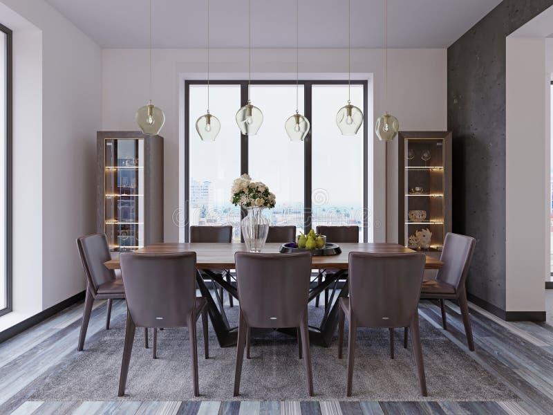 Janelas panorâmicos na sala de jantar luxuosa com tabela de madeira e as cadeiras de couro ao lado das lâmpadas de suspensão da m ilustração stock