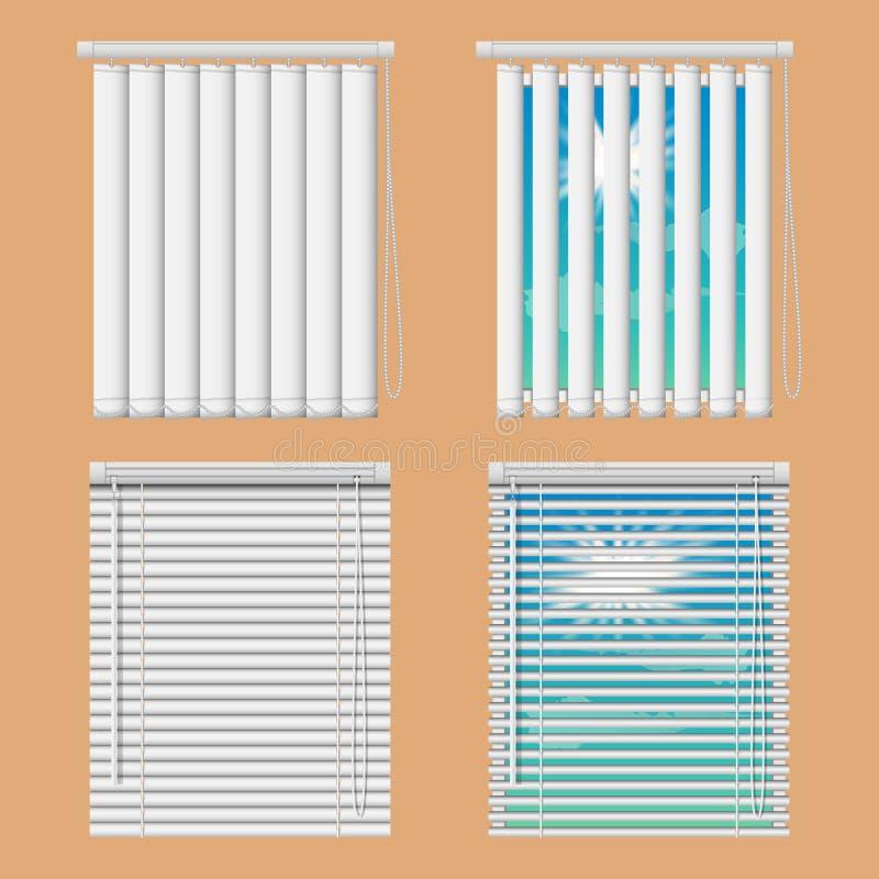 Janelas realísticas da ilustração do vetor com as cortinas cegas horizontais e verticais abertas e próximas ilustração royalty free