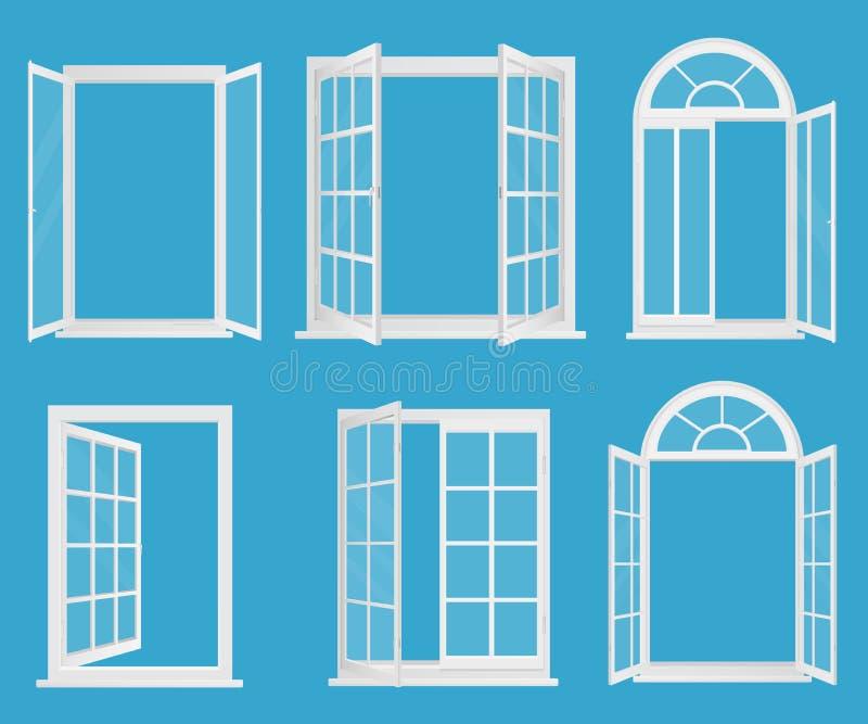 Janelas realísticas plásticas de madeira brancas ajustadas com ilustração de vidro transperant do vetor ilustração do vetor