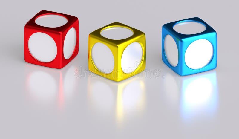 Janelas redondas do quadro da foto da caixa do cubo ilustração stock