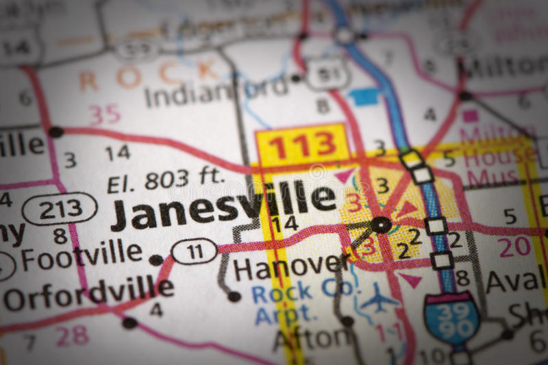 Janesville, Wisconsin on map. Closeup of Janesville, Wisconsin on a road map of the United States royalty free stock photo