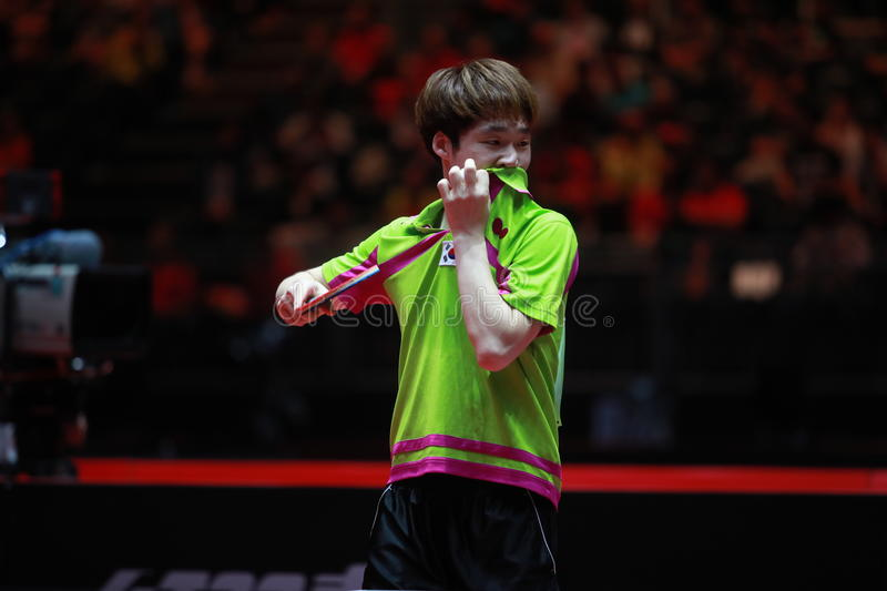 Jang woojin editorial stock photo image of serve championships 96077693 - World table tennis championships ...