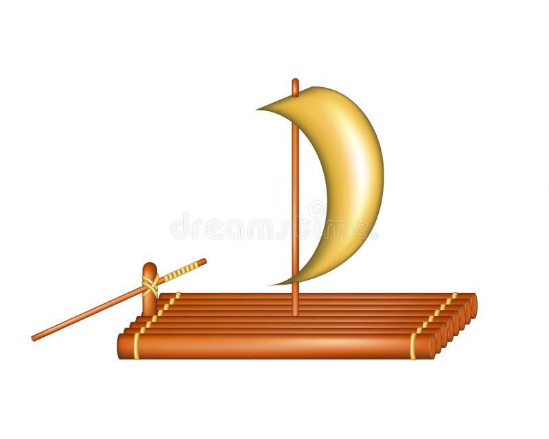 Jangada de madeira com vela ilustração royalty free