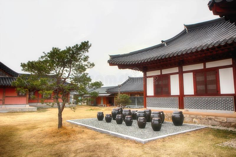 Jangdokdae and Pine Tree in Korean Traditional House in Slow City Changpyeong, Damyang, Jeonnam, South Korea, Asia.  royalty free stock photo