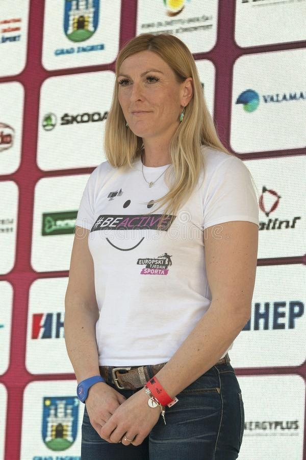 Janica Kostelic, greatest ski racer in the the history royalty free stock images