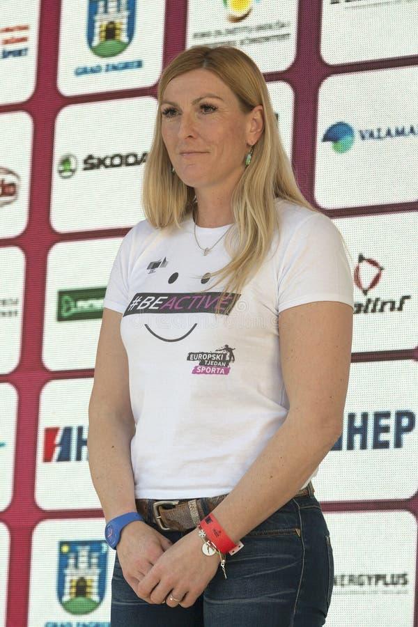 Janica Kostelic, le plus grand coureur de ski dans la l'histoire images libres de droits