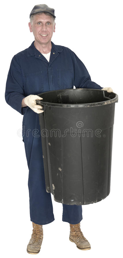 Janitor, śmieci, grat, banialuka mężczyzna Odizolowywający zdjęcie royalty free