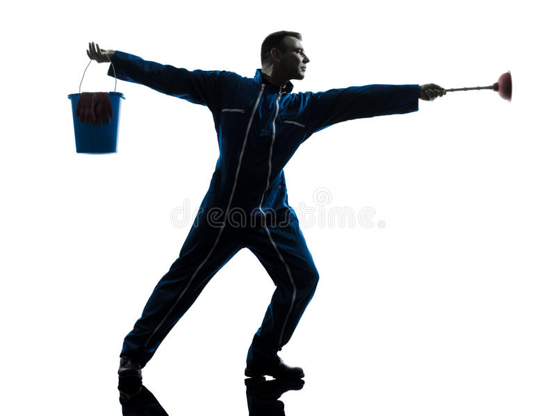 Janitor ατόμων σκιαγραφία υδραυλικών στοκ φωτογραφίες με δικαίωμα ελεύθερης χρήσης