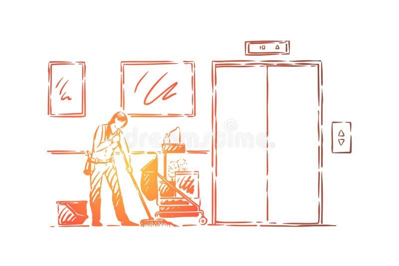 Janitor επάγγελμα, απρόσωπος νέος καθαριστής στο ομοιόμορφο mopping πάτωμα, εξοπλισμός καθαρισμού, σφουγγαρίστρα και απορρυπαντικ διανυσματική απεικόνιση
