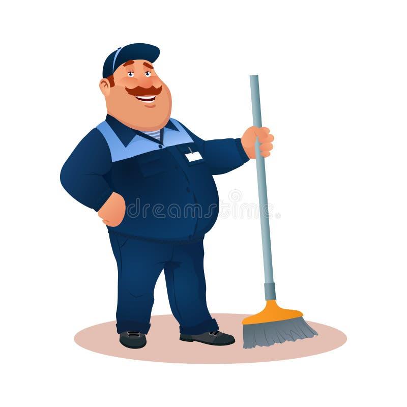 Janitor εργαζομένων κινούμενων σχεδίων Αστείο άτομο με τη σφουγγαρίστρα διανυσματική απεικόνιση