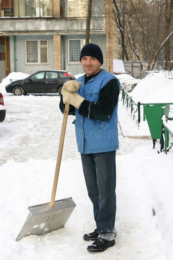 Download Janitor stock image. Image of moscow, snow, janitor, shovel - 772229