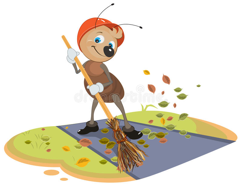 Janitor ant sweeps broom fallen leaves from footpath. On white vector cartoon illustration vector illustration
