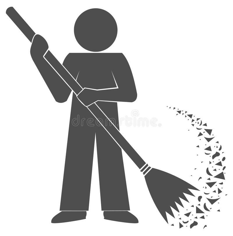Free Janitor Cleans Garbage. Sweep Broom. Sign. Logo Gray Silhouette. Stock Images - 59722884