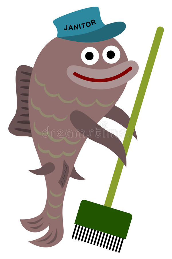 Janitor fish. A cute illustration of a janitor fish holding a broom and wearing a janitor hat royalty free illustration