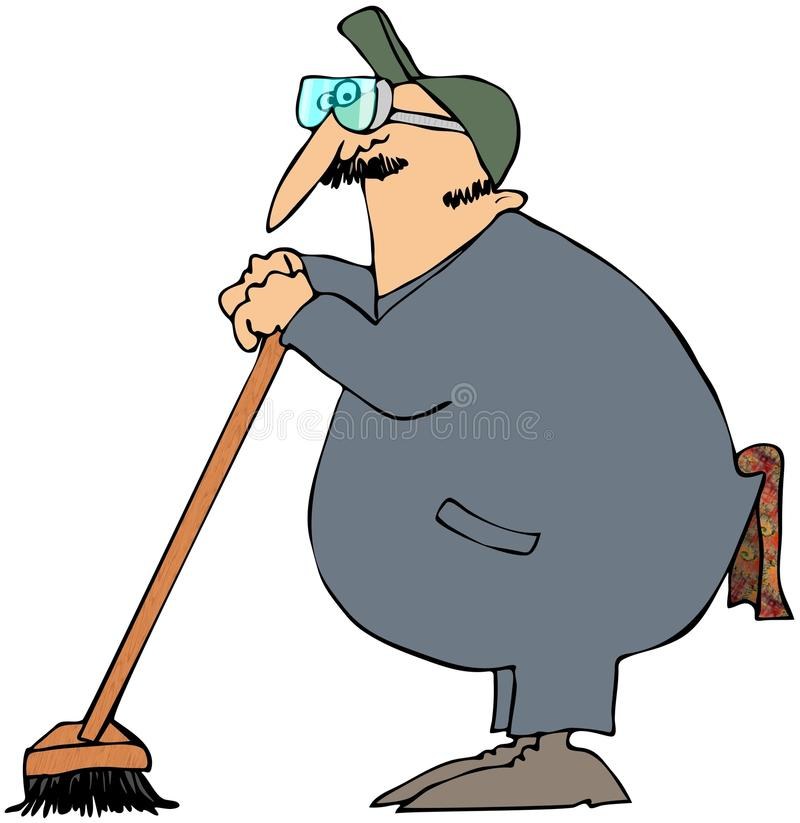 Download Janitor Leaning On A Broom stock illustration. Image of illustration - 13552831