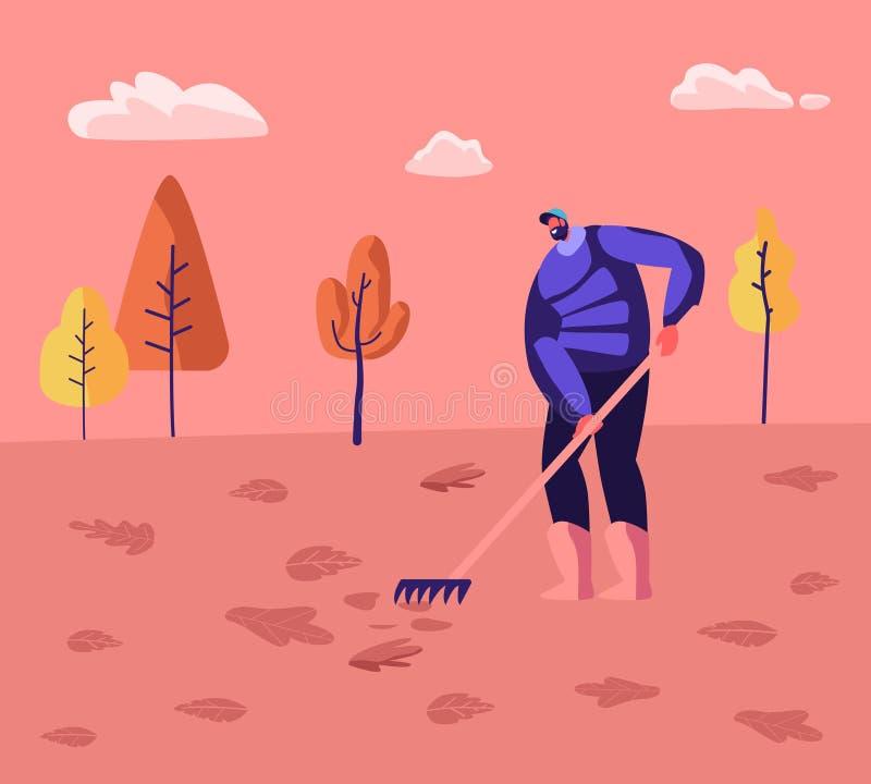 Janitor Male Character Street Cleaner Segurando Rake Varrendo o gramado e Arrastando Folhas Coloridas Falhadas no Parque da Cidad ilustração stock