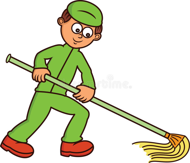 janitor mopping floor cartoon illustration stock vector janitor clip art free janitor clipart black and white