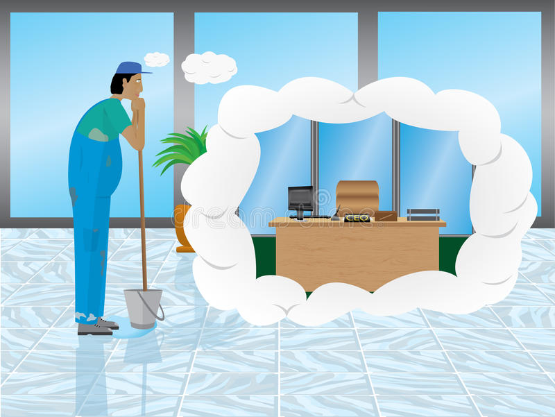 Janitor's daydream. Of becoming a CEO and work in a office vector illustration