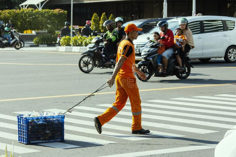 Janitor street in jakarta city royalty free stock photography