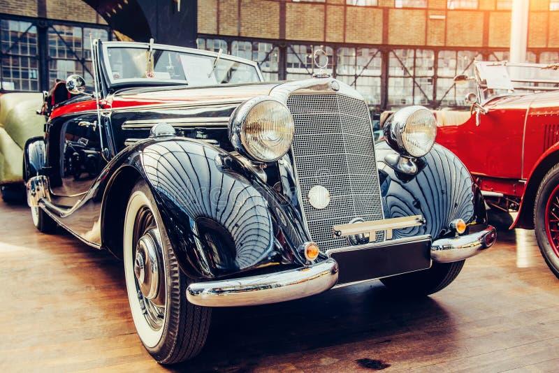 Janitors car. Beautiful retro style transport exhibition. Vintage transport retro car. Beautiful Exhibition Transport stock photos