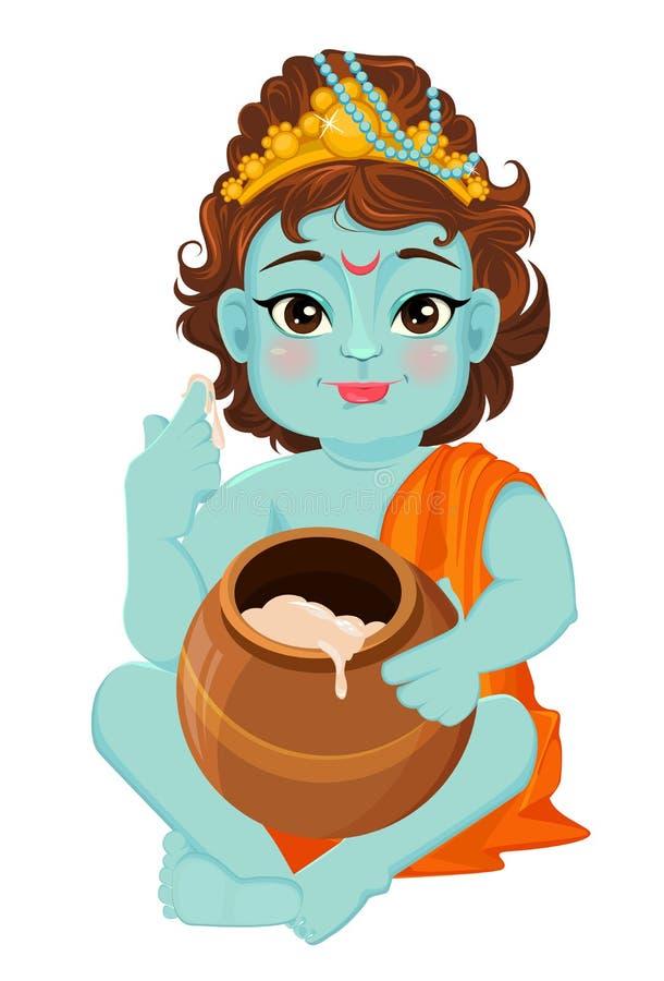 Janmashtami felice Celebrazione della nascita di Krishna Poco Krishna assaggia il burro illustrazione vettoriale