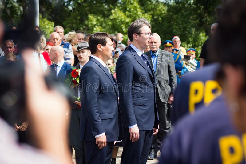 Janos Ader and Aleksandar Vucic. The Serbian president Aleksandar Vucic and the Hungarian president Janos Ader are standing together in Senta town in Serbia at royalty free stock image